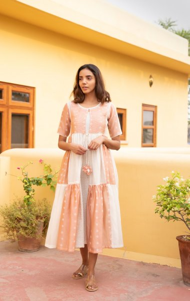 Rose Gold Mogra Tiered Jacket Dress