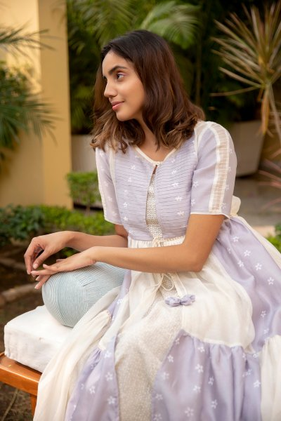 Lilac Mogra Tiered Jacket Dress