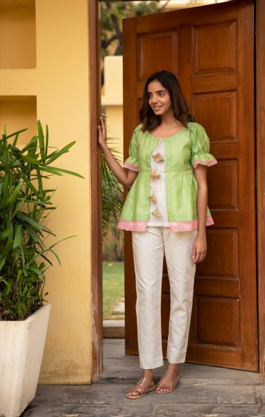 Lime Chanderi Lace Shrug