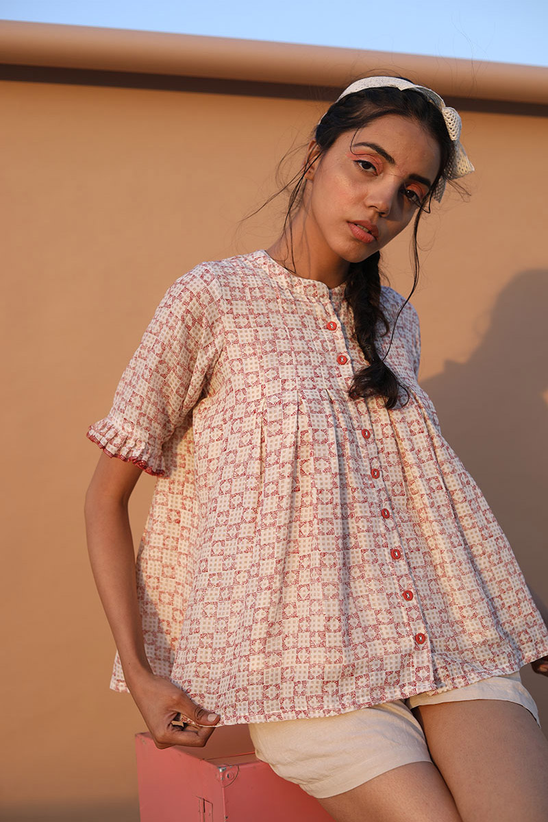Block printed cotton silk Shirt